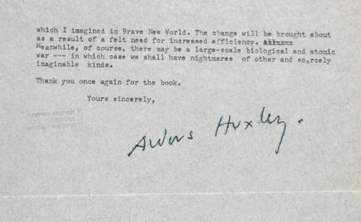 Aldous Huxley'den George Orwell'a Mektup