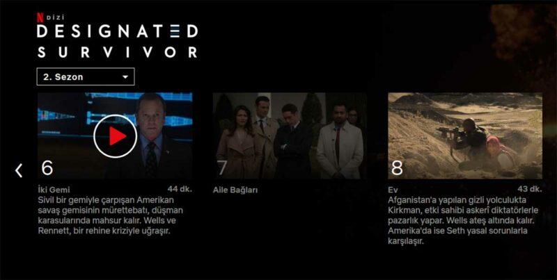 Designated Survivor 2x7 Netflix Türkiye