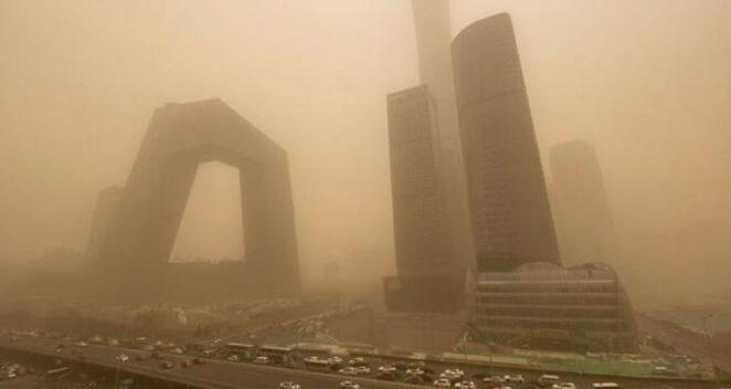 çin kum fırtınaları hava kirliliği pekin